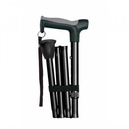 Hugo Opvouwbare Wandelstok - opgevouwen - zwart
