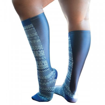 Xpandasox Dames - fairisle sok - kniehoogte Blauw