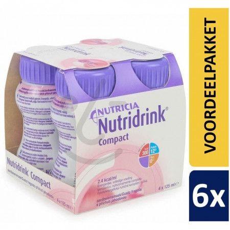 Nutridrink Compact Aardbei | 6 pakken van 4x125ml