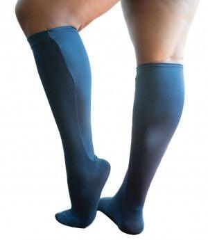 Xpandasox Dames - effen sok - kniehoogte Blauw