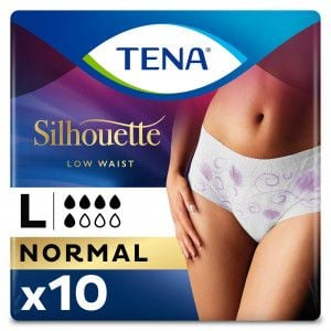 TENA Silhouette Normal - Low Waist - Blanc - Large - 10 stuks
