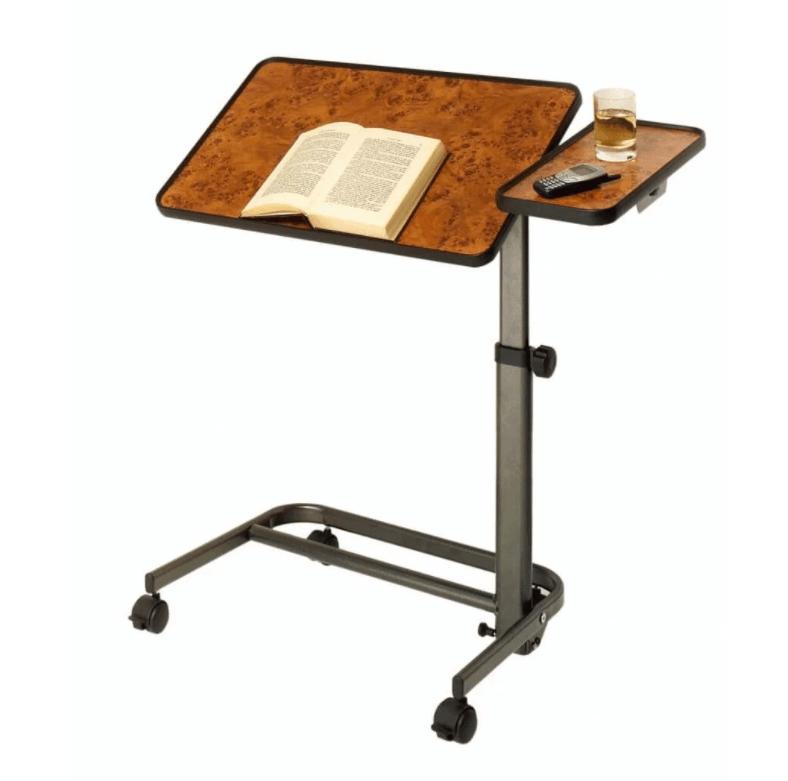 Bedtafel op wielen met kanterbaar blad en zijblad