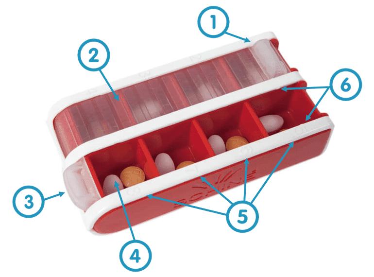 Schine Pill Box Small Rood uitleg