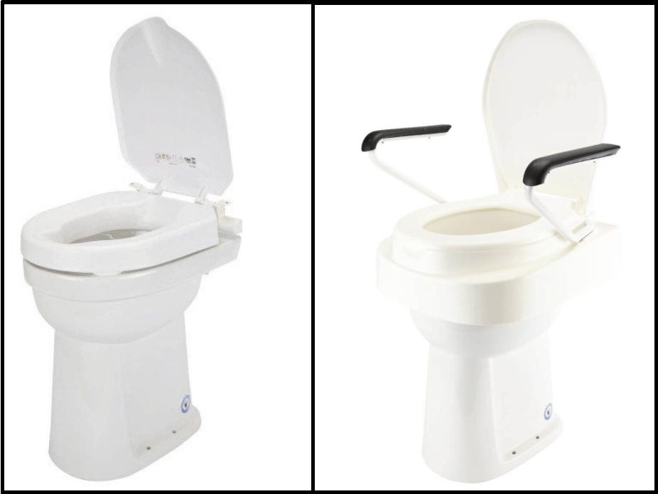 Toiletverhoger met armsteunen versus zonder armsteunen
